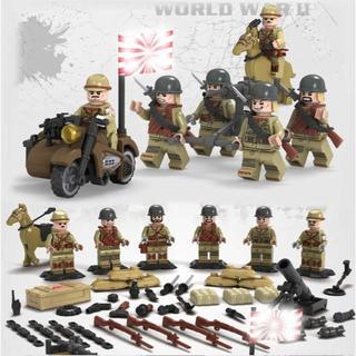 【送料無料】レゴ互換 特殊部隊 旧日本軍6体セット 武器多数  00084(ミリタリー)