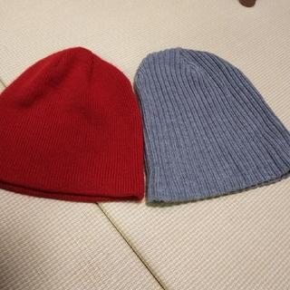 ジーユー(GU)のニット帽 赤 & グレー 黒 3つセット(ニット帽/ビーニー)