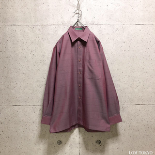 [used]wine red plaid suit shirt.(シャツ)
