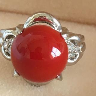 Pt900 天然 赤 珊瑚 丸玉 11mmダイヤ付きデリング11.5号指輪(リング(指輪))