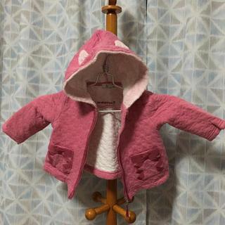 クミキョク(kumikyoku(組曲))の組曲 ネコ柄 キルト パーカー ピンク  ネコ耳 リボン(ジャケット/コート)