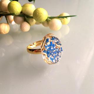 オーバル型ダイヤカットリング ブルー(リング(指輪))