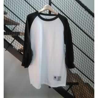 チャンピオン(Champion)の新品 チャンピオン 無地 5.2oz  7分袖ラグランTシャツ ホワイトブラック(Tシャツ(長袖/七分))