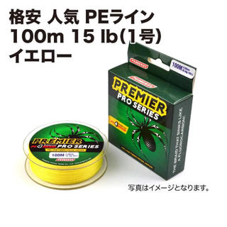 格安 PEライン 釣糸 100m 15lb (1号)イエロー(釣り糸/ライン)