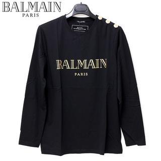 バルマン(BALMAIN)の4 BALMAIN ショルダーボタンゴールドロゴ長袖 ロンTsize M(Tシャツ/カットソー(七分/長袖))