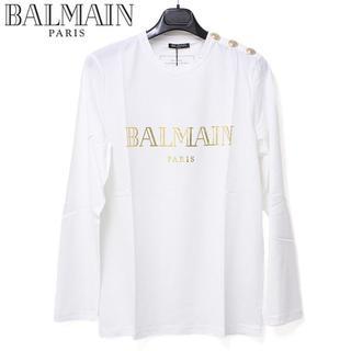 バルマン(BALMAIN)の6 BALMAIN ショルダーボタンゴールドロゴ長袖 ロンTsize M(Tシャツ/カットソー(七分/長袖))