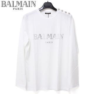 バルマン(BALMAIN)の7 BALMAIN ショルダーボタンシルバーロゴ長袖 ロンTsize M(Tシャツ/カットソー(七分/長袖))