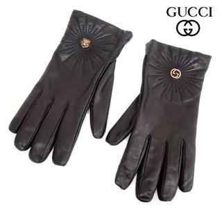 グッチ(Gucci)の6 GUCCI ブラック レザー手袋 裏生地カシミヤ100% size10(手袋)