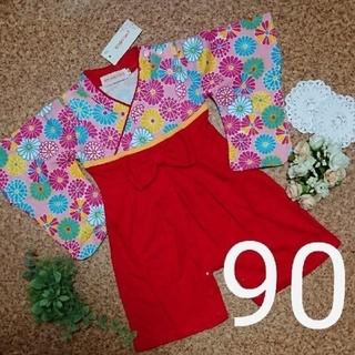 袴ロンパース 女の子 4-90(和服/着物)