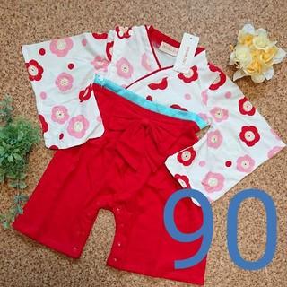 袴ロンパース 女の子 2-90(和服/着物)