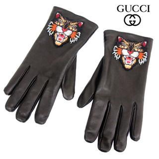グッチ(Gucci)の7 GUCCI ブラック レザー手袋 裏生地カシミヤ100% size 9(手袋)