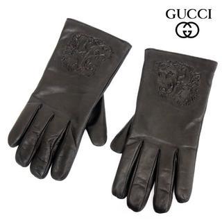 グッチ(Gucci)の8 GUCCI ブラック レザー手袋 裏生地カシミヤ100% size 9.5(手袋)