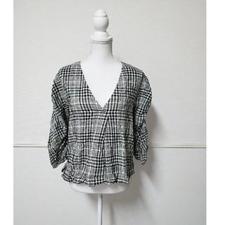 ザラ(ZARA)のZARA ポンチョ風 チェックシャツ xs(ポンチョ)