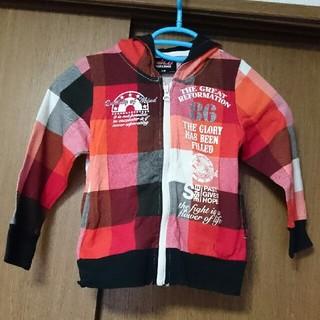 シマムラ(しまむら)の薄手パーカー 男女兼用 サイズ110 赤(ジャケット/上着)