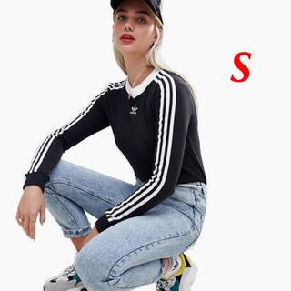 アディダス(adidas)の【レディースS】黒 ロングスリーブTシャツ(Tシャツ(長袖/七分))