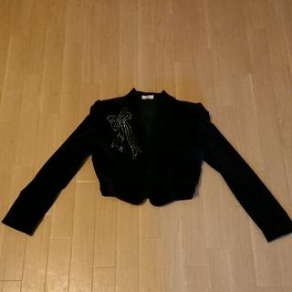 アンディ(Andy)のAUJUS リボン型 ラインストーン ジャケット 黒 SX ベルベット スーツ (ノーカラージャケット)