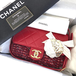 シャネル(CHANEL)の❤️シャネル❤️ 2017秋冬赤系ツイードゴールドハンドル付バックご確認用画像(ショルダーバッグ)