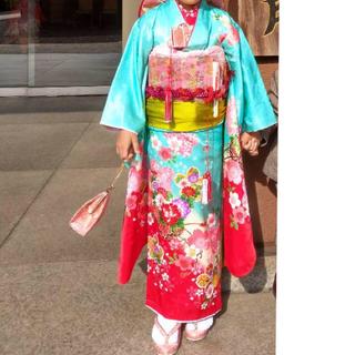 七五三 7歳 フルセット 着物 エメグリ 髪飾り しごき 正絹 女の子 四つ身(和服/着物)
