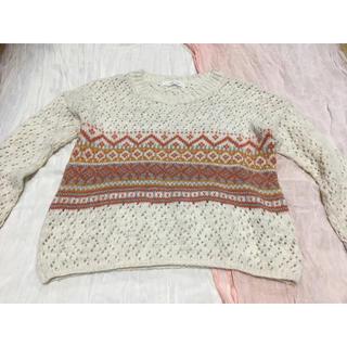ローリーズファーム(LOWRYS FARM)のローリーズファーム 白×オレンジセーター(ニット/セーター)