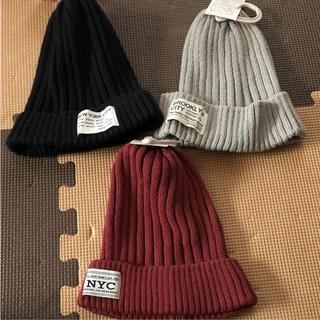 シマムラ(しまむら)の新品 ニット帽 57.5〜59cm 3個セット(ニット帽/ビーニー)