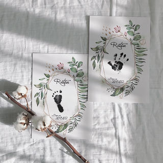 ボタニカルな手型足形アート+命名書(手形/足形)