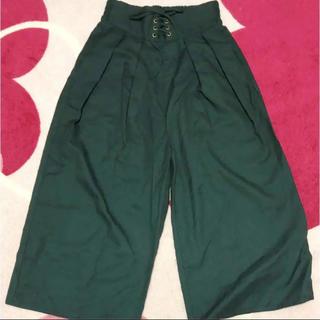 シマムラ(しまむら)のダークグリーン 編み上げ ワイドパンツ(カジュアルパンツ)