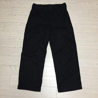 ジーユー(GU)のビッグシルエット ワイドパンツ 大きめ 黒 ブラック M(ミリタリージャケット)