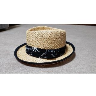 マウジー(moussy)のMOUSSY プリントロゴリボン ストローハット麦わら帽子 F(麦わら帽子/ストローハット)