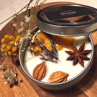 アロマワックス缶 オレンジ 黒稲穂 木の実 (甘い蜂蜜の香り)(アロマ/キャンドル)