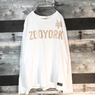 ズーヨーク(ZOO YORK)のZOO YORK 長袖 カットソー ホワイト ロゴ Tシャツ(Tシャツ/カットソー(七分/長袖))