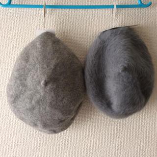 シマムラ(しまむら)のしまむら ベレー帽 ウール&ファー 2個セット グレー(ハンチング/ベレー帽)