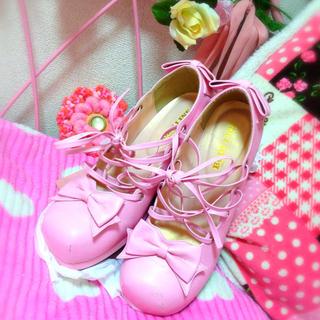 ボディライン(BODYLINE)のボディライン♡ピンクのリボンパンプス(ブーツ)