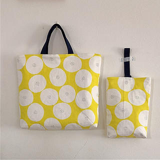 あんぱん 黄色 イエロー レッスンバッグ  上履き袋 ハンドメイド  入園 入学(バッグ/レッスンバッグ)