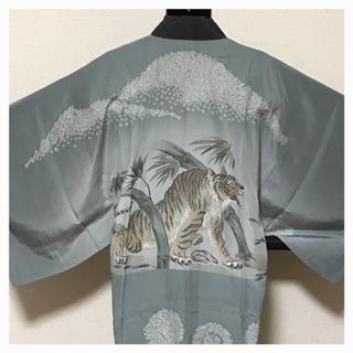 上質 正絹 男物 袷 長襦袢 グレー 絞り 虎柄柄 中古品(着物)