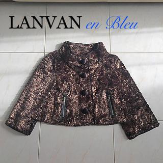 ランバンオンブルー(LANVIN en Bleu)のランバンオンブルー 38 ジャケット イタリア製生地使用(ノーカラージャケット)