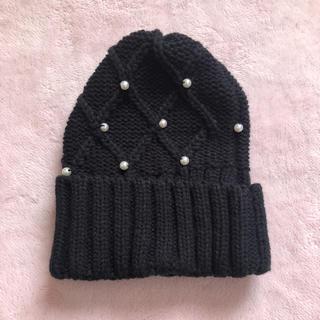 ジーユー(GU)のパール付きニット帽(ニット帽/ビーニー)