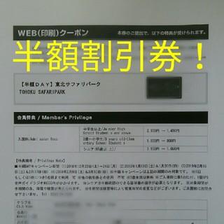 東北サファリパーク半額割引券【期間限定】(動物園)