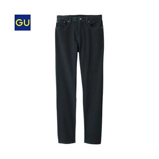 ジーユー(GU)のジーユーGUデニムルックイージーパンツ ブラック 黒S ヴィンテージ(スラックス)