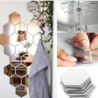 ウォール ミラー ステッカー 壁 貼り付け 剥がせる 鏡 六角形(ドレッサー/鏡台)