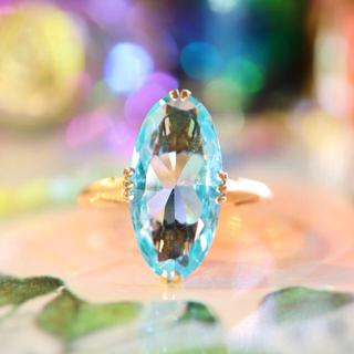 お勧め✩⃛k18✧凛としたミントブルーの石の指輪⋆アガット クロチェ お好きな方(リング(指輪))