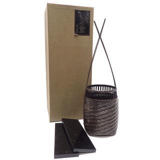 C173 中古 合金網代花器 利賀の里 籠 化粧箱 タンザク塗板付き(花瓶)