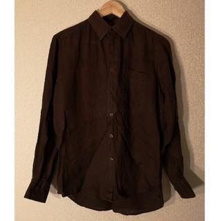 ユニクロ(UNIQLO)のユニクロ プレミアムリネンシャツ ダークブラウン Sサイズ(シャツ)