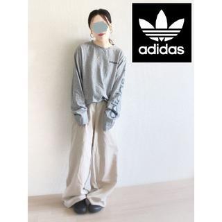 アディダス(adidas)のadidas (アディダス) 袖ロゴ ロンT グレー(Tシャツ(長袖/七分))