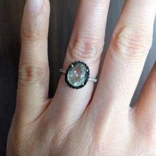 K18WG ブラック/ホワイトダイヤ グリーンアメジストリング(リング(指輪))