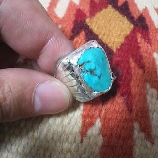 インディアン(Indian)のインディアンジュエリー ナバホ族 DL sterlingターコイズシルバーリング(リング(指輪))
