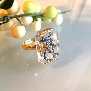 スクエア型ダイヤカットリング ブルー(リング(指輪))