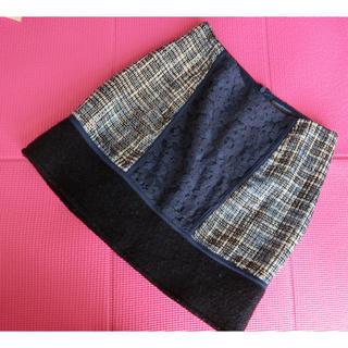 マーキュリーデュオ(MERCURYDUO)の【美品】マーキュリーデュオ♡︎ミックスマテリアル台形スカート(ミニスカート)