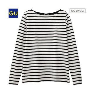 ジーユー(GU)の新品未使用 GU ボーダーボートネックTシャツ オフホワイト M 綿100%(Tシャツ(長袖/七分))