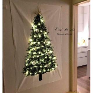 大流行のクリスマスツリーのタペストリー【シンプル】150×75cm(その他)