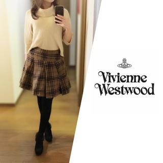 ヴィヴィアンウエストウッド(Vivienne Westwood)のVivienne Westwood◆ウール チェック フレアスカート ブラウン(ミニスカート)